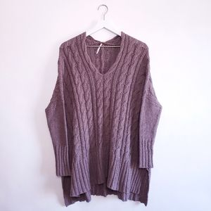 Free people Easy Cableknit V-Neck Sweater